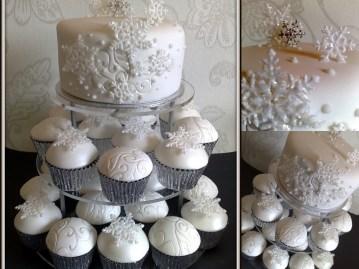 Hópehely cupcake torta / Snowflake cupcake wedding cake Forrás:http://wtbling.blogspot.hu