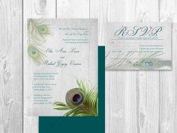 Pávás meghívó, Peacock wedding invitation Forrás:http://www.etsy.com