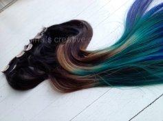 Pávás,ombre csatos póthaj, Peacock ombre hair extensions Forrás:http://www.etsy.com