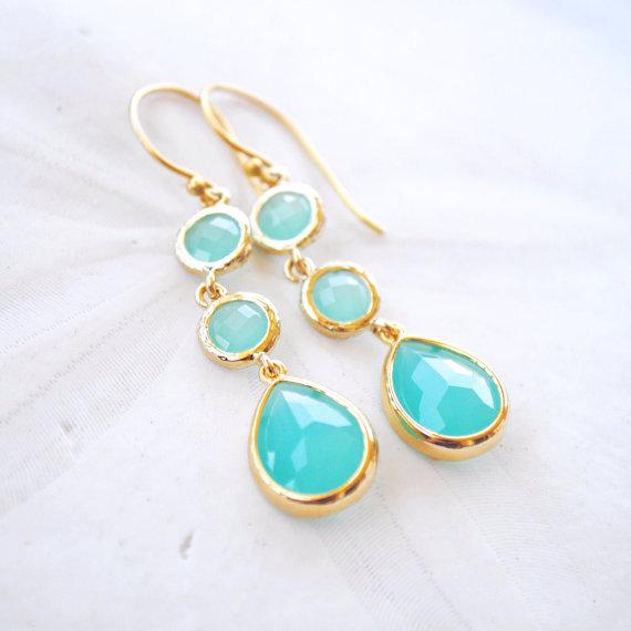 Türkiz fülbevaló , Turquoise earrings Forrás:http://www.etsy.com
