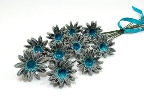 Türkiz kerámia csokor , Turquoise bridal ceramic bouquetForrás:http://www.etsy.com