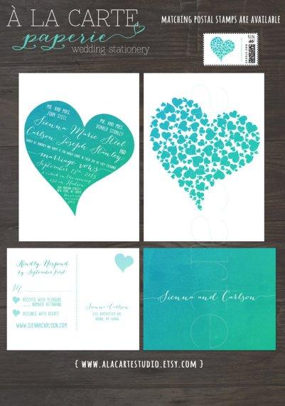 Türkiz meghívó , Turquoise wedding invitation Forrás:http://www.etsy.com