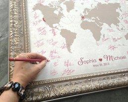 Világtérkép mint esküvői vendégkönyv , World Map wedding guest book alternative Forrás:http://www.etsy.com