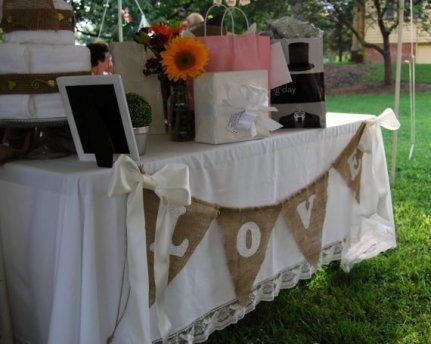 Zsákvászon esküvői zászló , Burlap wedding banner Forrás:www.etsy.com