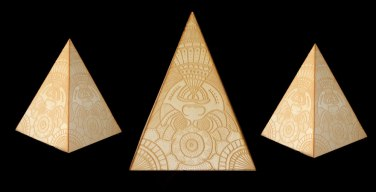 Laser etched pyramids