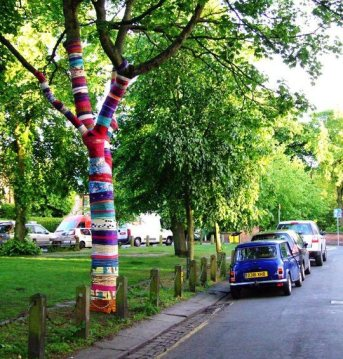 Fabric bound tree. Chorlton Arts Festival, Manchester 2011