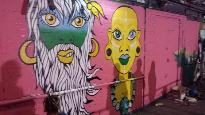 Becki Miller's Mural at The Femme Fierce All Female Leake Street Takeover