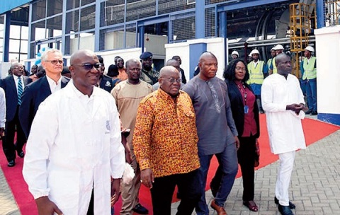 President Akufo-Addo with Nazaire Djako (left), Supply Chain Director, Unilever Ghana and others