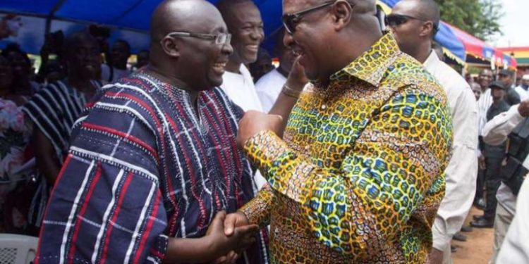 Bawumia and Mahama at a public event