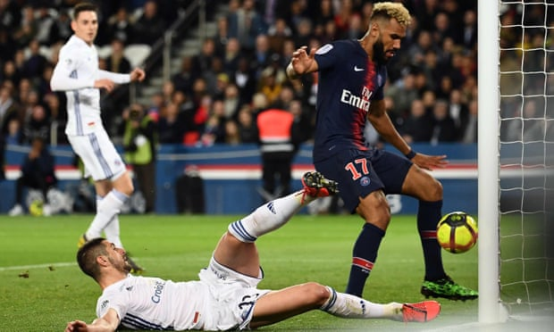 Eric Maxim Choupo-Moting not only prevented his PSG teammate's shot from going in but also failed to score himself from less than a yard out against Strasbourg. Photograph: Anne-Christine Poujoulat/AFP/Getty Images