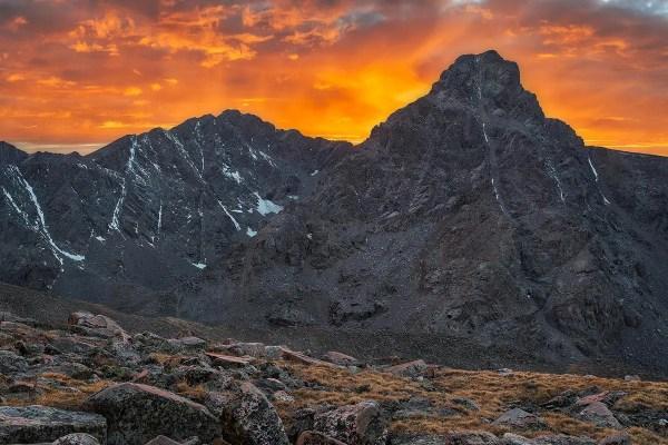 Fiery Sunset over Holy Cross Colorado