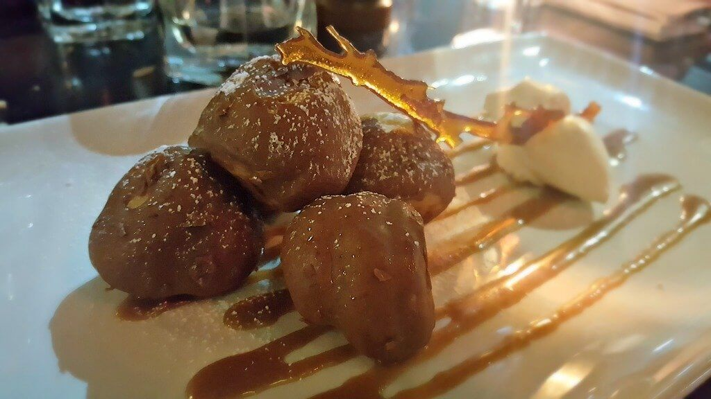 sampling the new menu at Browns bar & brasserie salted caramel profiteroles