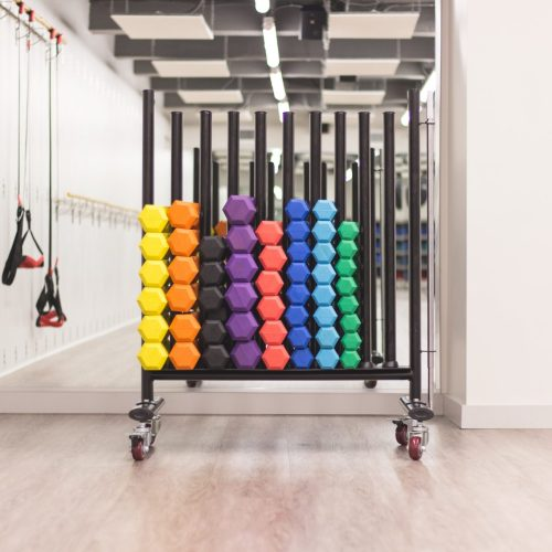 sets of colourful dumbells in a stand