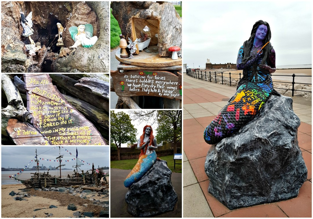 a collage of images showing mermaid statues on a promenade and fairy gardens in trees