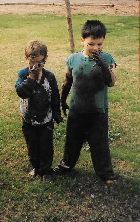 jake and josh in mud