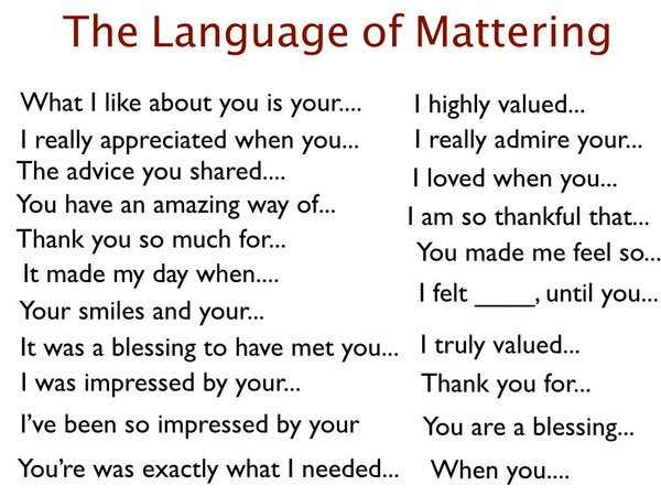 The language of mattering