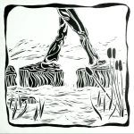 Woodblock stepping stones across a stream illustration