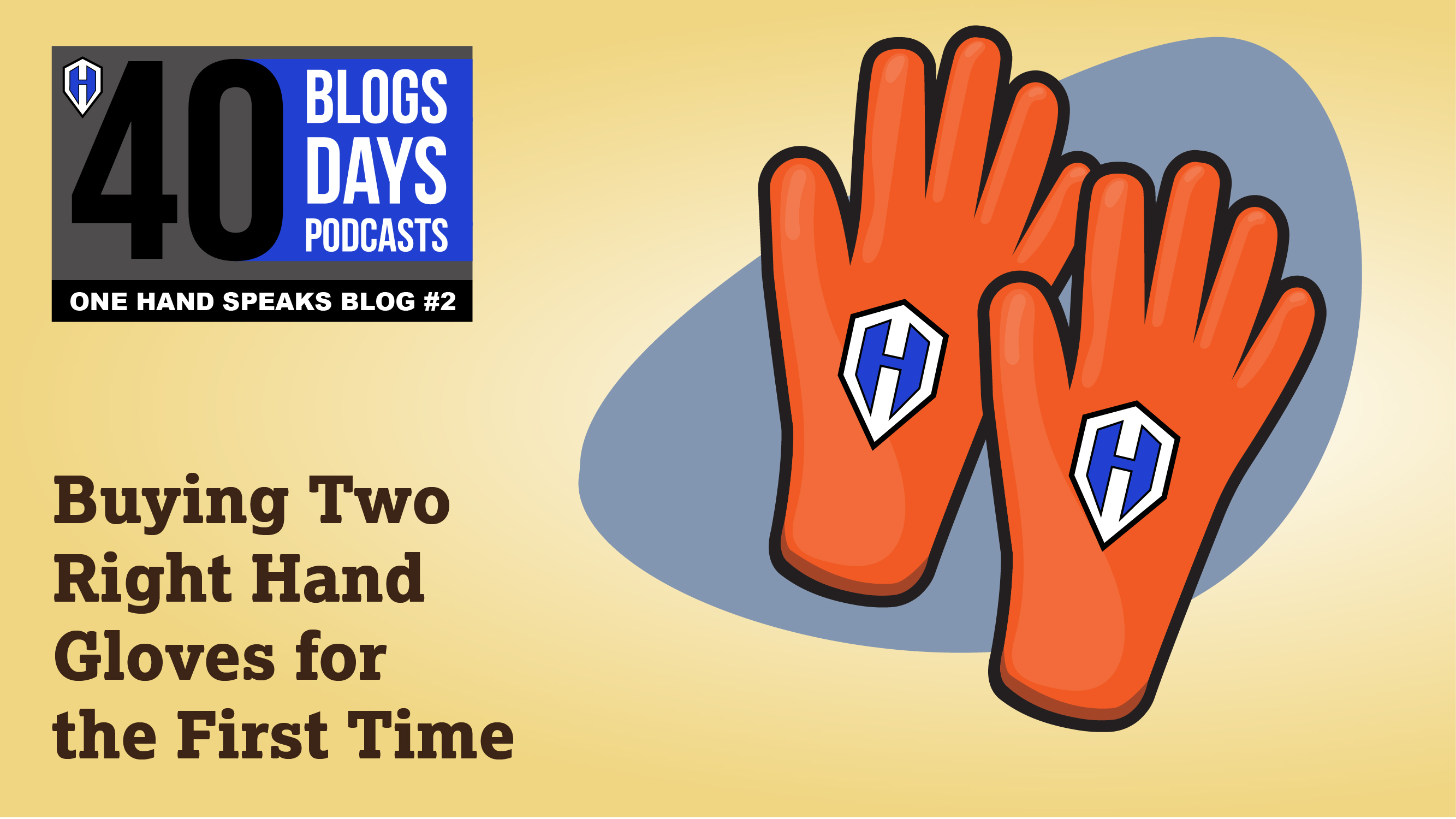 A cartoon like image of a pair right handed orange work gloves with AlejAndro's One Hand Speak logo on them.
