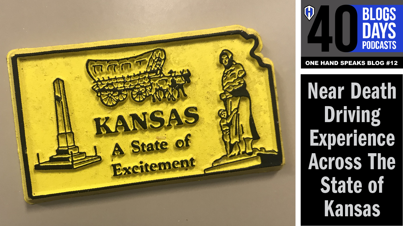 """An image of a yellow refrigerator magnet which says, """"Kansas, a state of excitement."""""""