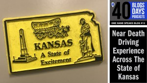 "An image of a yellow refrigerator magnet which says, ""Kansas, a state of excitement."""
