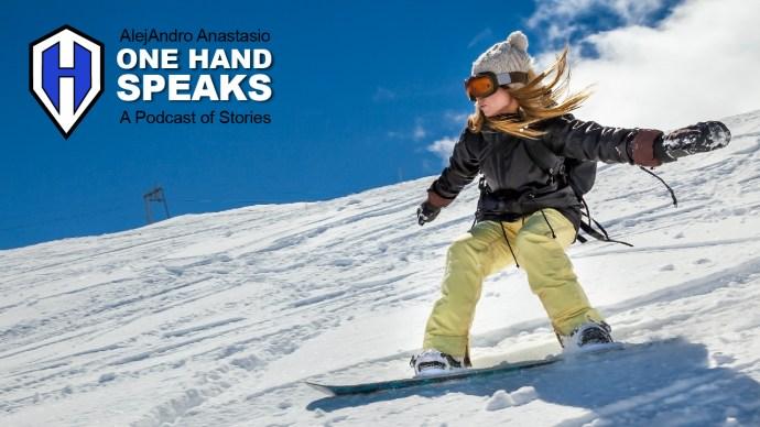 little snowboard girl shredding on the slopes
