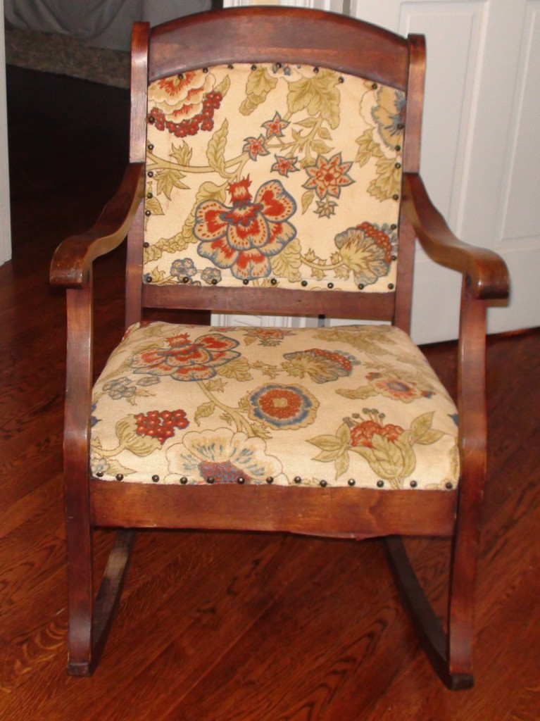 antique rocking chair reupholstery  One Home Made