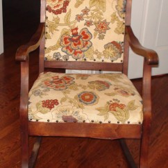 Antique Rocking Chair Theater Cup Holder Replacement Reupholstery One Home Made