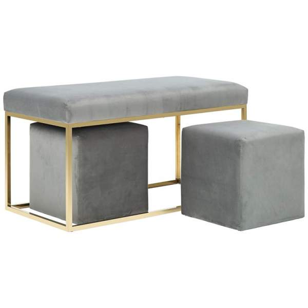 Lila Tri 3-Piece Velvet Bench Set