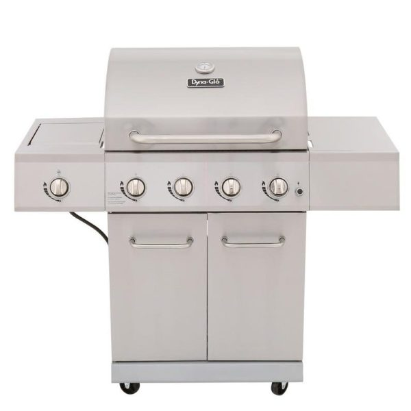 Dyna-Glo 4-Burner Gas Grill in Stainless Steel with Side Burner