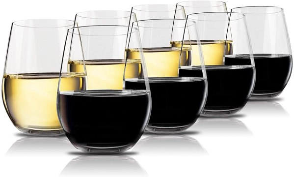 Vivocci Unbreakable Plastic Stemless Wine Glasses 20 oz