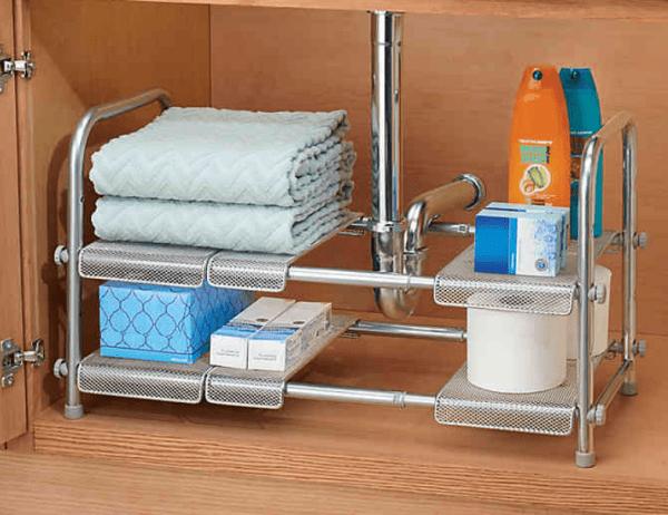 iDesign Cabrini Under Sink Organizer Shelf in Silver