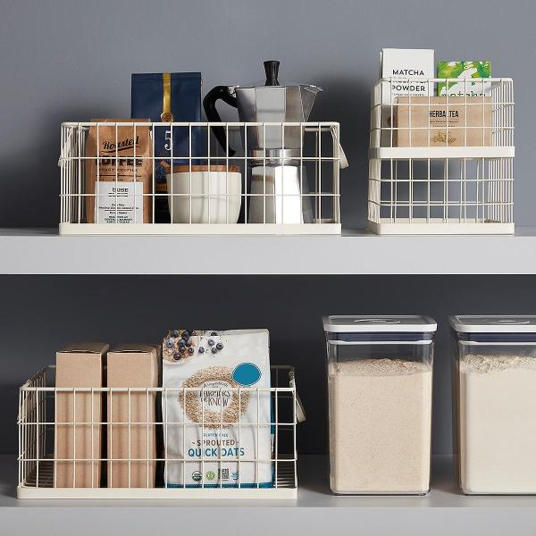 White Stacking Wire Bins