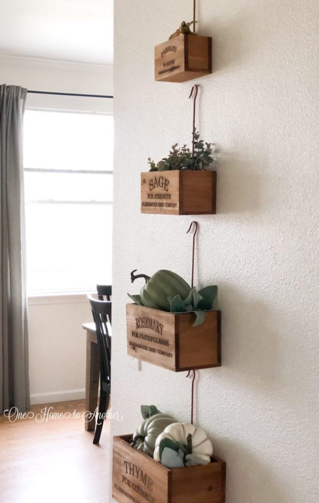 fall home tour, fall, fall decor, herb hanging planter boxes