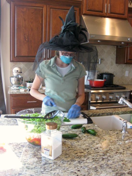 making homemade salsa