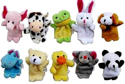 10pcs Velvet Animal Style Finger Puppets Set