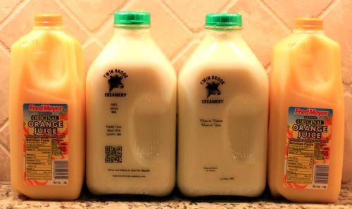 milk and orange juice