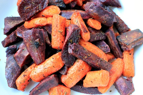 Roasted Purple Sweet Potato Wedges with Rosemary and Thyme