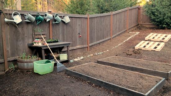 garden bench watering cans