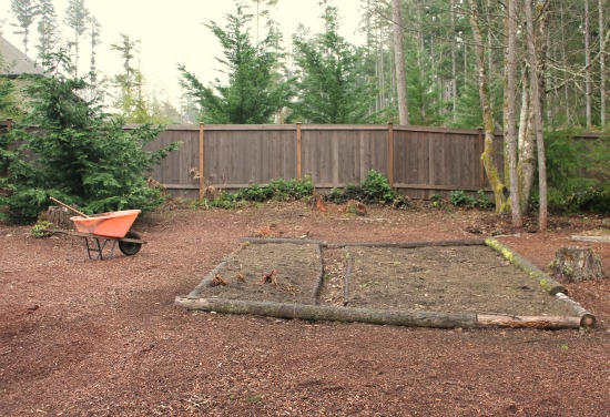 raised garden beds with logs