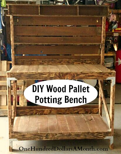 Pleasant Diy Recycled Wood Pallet Potting Bench And Tool Holder One Ibusinesslaw Wood Chair Design Ideas Ibusinesslaworg