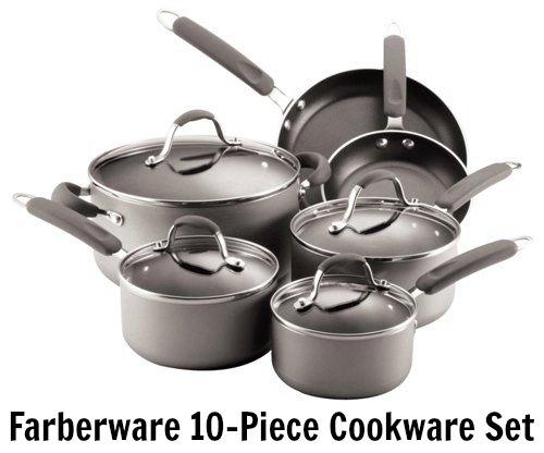 Farberware Enhanced Aluminum Nonstick 10-Piece Cookware Set, Silver