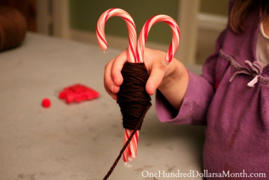 Easy Christmas Crafts - Candy Cane Reindeer