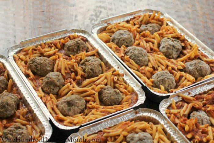 Freezer Meal - Penne with Meat Sauce and Meatballs