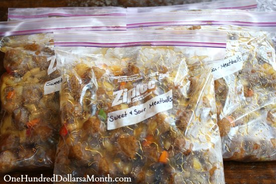 Freezer Meal Sweet and Sour Meatballs