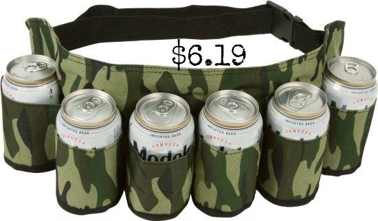 EZ DRINKER 6 Pack Redneck Beer and Soda Can Holster Belt, Camo Camouflage Design