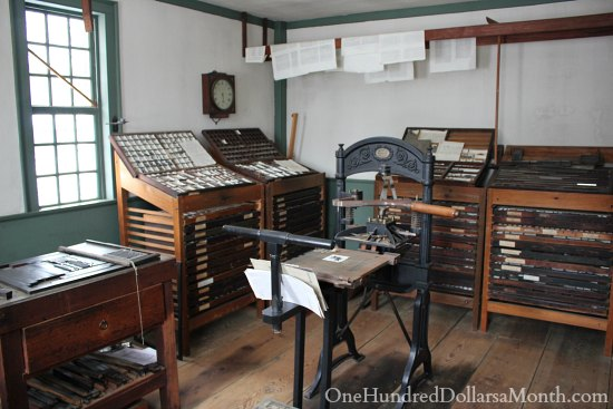 Old Sturbridge Village New England Living History Museum printing press