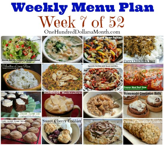 weekly meal plan menu plan ideas week 7 of 52 one hundred