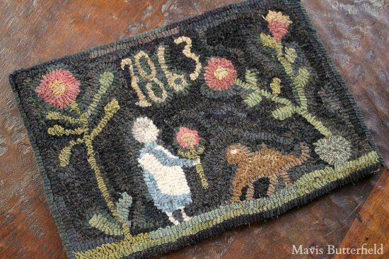 primitive hooked rug mavis butterfield