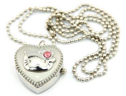 silver kitty heart locket