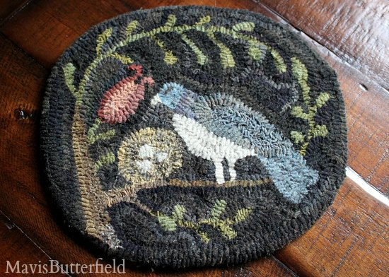 primitive hooked rug folk art bird